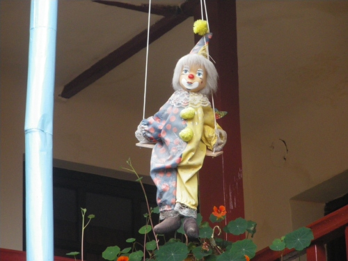 The patron clown that watches over all of us in the courtyard.