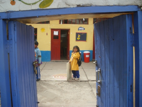 Looking through the door into the school.