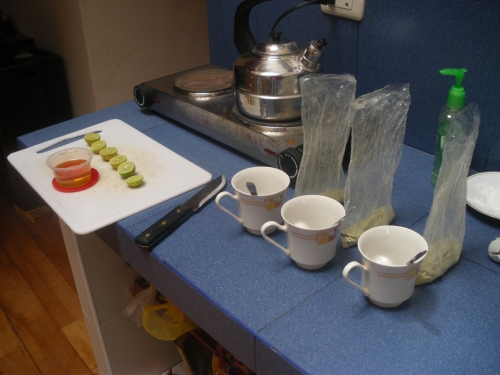 Our tea cups, honey, limes and San Pedro waiting for water to boil.